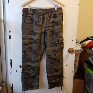 Anthropology 100% Linen Camo Cargo Pants with Ties